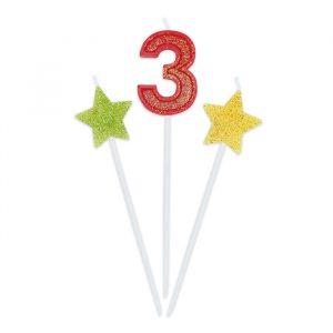 3 Candeline Picks 16 cm Sweety Stars Glitter Numero 3