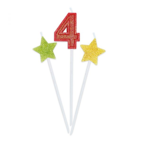 3 Candeline Picks 16 cm Sweety Stars Glitter Numero 4