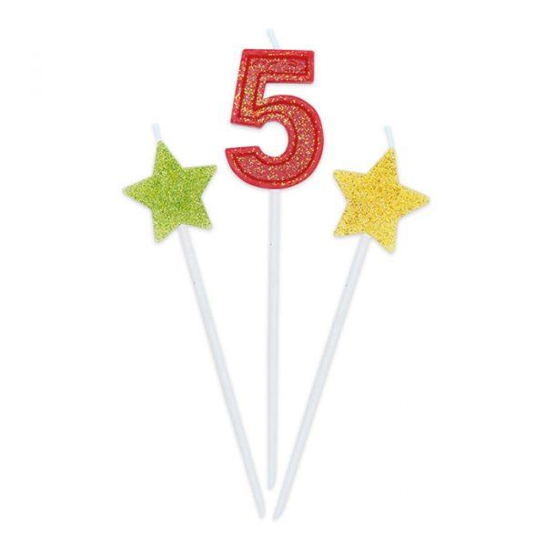 3 Candeline Picks 16 cm Sweety Stars Glitter Numero 5