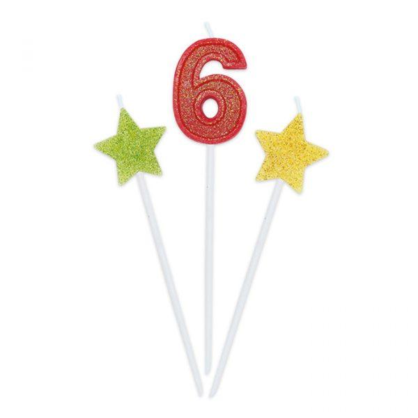 3 Candeline Picks 16 cm Sweety Stars Glitter Numero 6