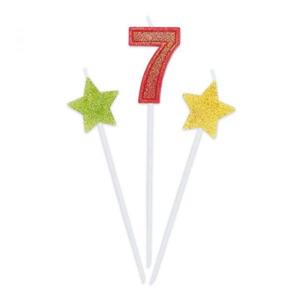 3 Candeline Picks 16 cm Sweety Stars Glitter Numero 7