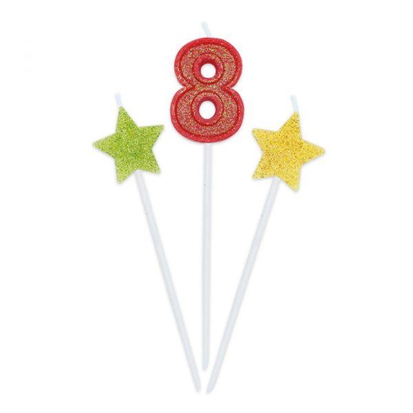 3 Candeline Picks 16 cm Sweety Stars Glitter Numero 8