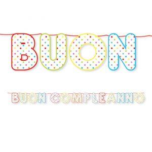 Festone Kit Scritta Maxi 600 x 25 cm Buon Compleanno Pois Multicolor