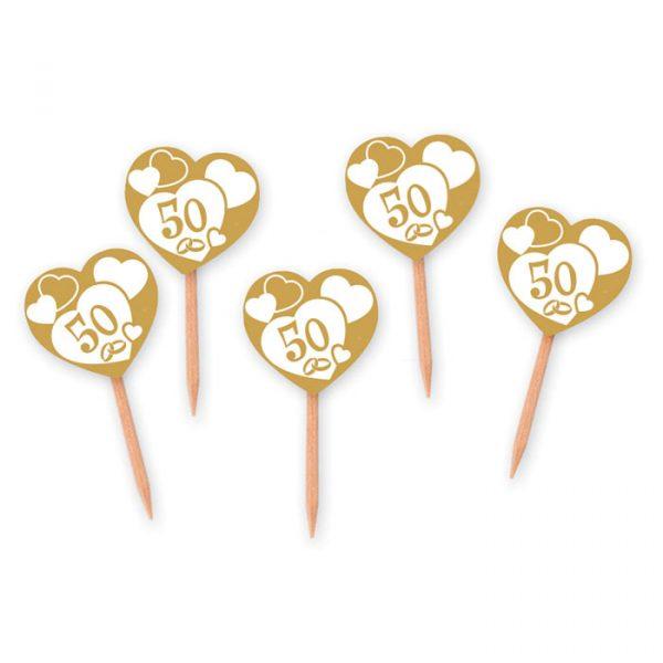25 Picks Sagomati 4 x 7 cm Nozze d Oro