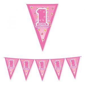 Festone Bandierine in plastica 600 x 25 cm One Pink