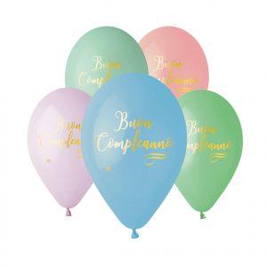 """50 Palloncini in Lattice All Around 12"""" Buon Compleanno Soft Rainbow"""