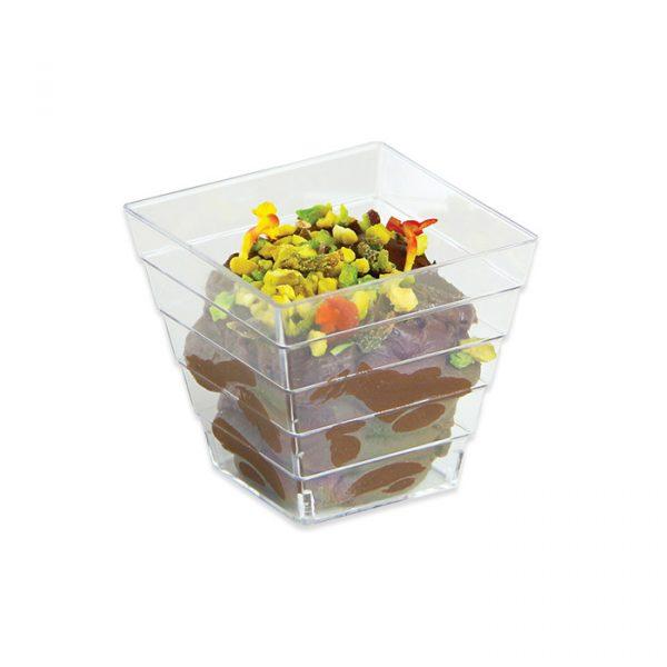 12 Coppette Quadrate Rigate Finger Food in plastica 5 x 5 x 4
