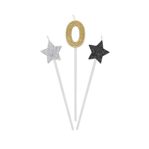3 Candeline Picks 16 cm Prestige Numero 0