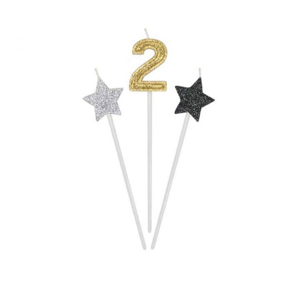 3 Candeline Picks 16 cm Prestige Numero 2