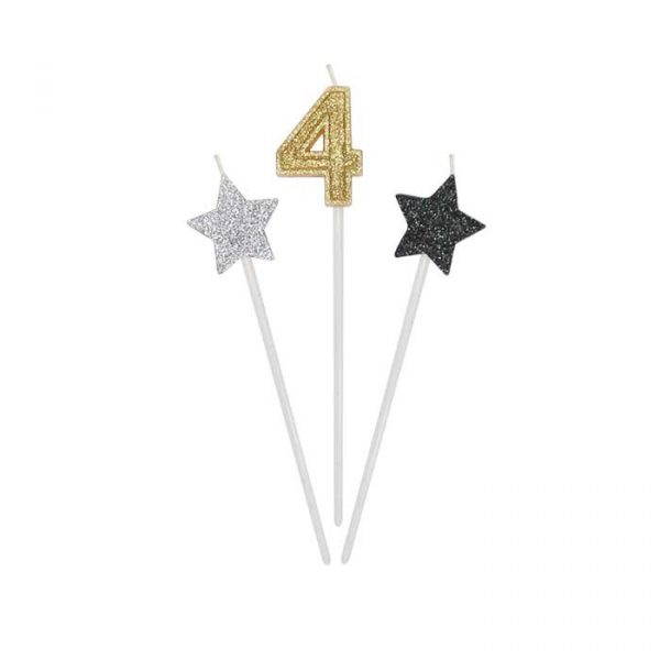 3 Candeline Picks 16 cm Prestige Numero 4