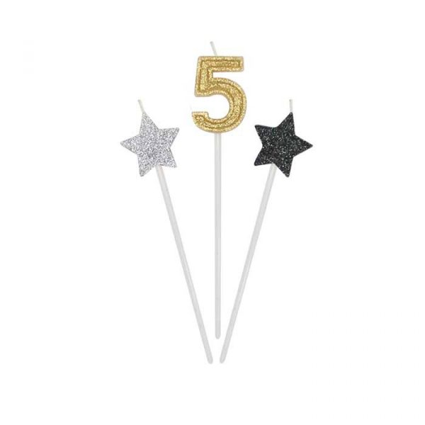3 Candeline Picks 16 cm Prestige Numero 5