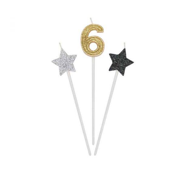 3 Candeline Picks 16 cm Prestige Numero 6