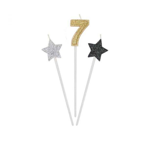 3 Candeline Picks 16 cm Prestige Numero 7