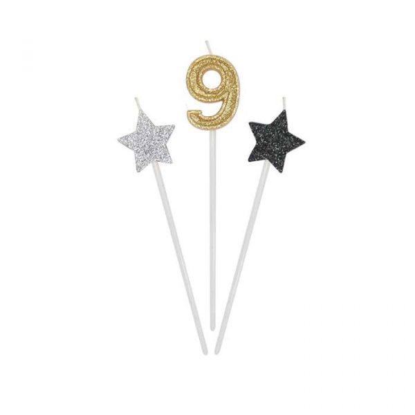 3 Candeline Picks 16 cm Prestige Numero 9