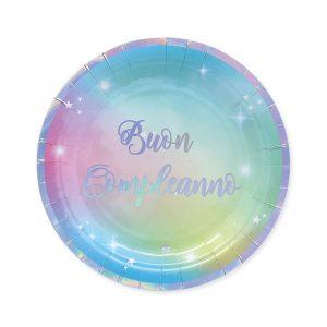8 Piatti Ø 24 cm Buon Compleanno Soft Rainbow