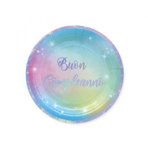 8 Piatti Ø 18 cm Buon Compleanno Soft Rainbow