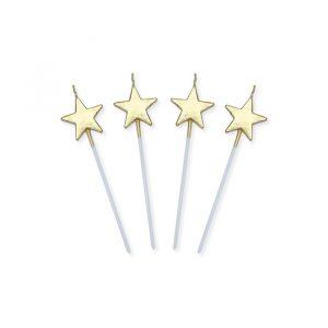 4 Candeline Picks 13 cm Stelle Oro Metal