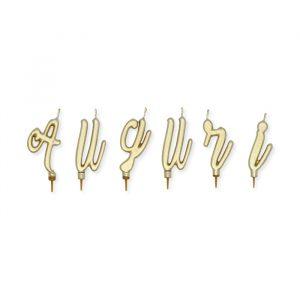 Set Candeline 7 cm Auguri Italic Oro Metal