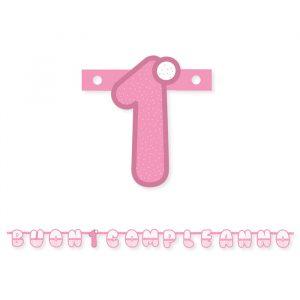 Festone Scritta 215 x 15 cm Primo Compleanno Rosa