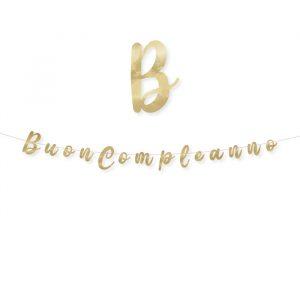Festone Scritta Italic 300 x 15 cm Buon Compleanno Oro Metal