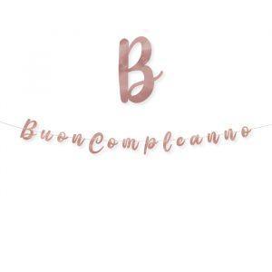 Festone Scritta Italic 300 x 15 cm Buon Compleanno Rose Gold Metal