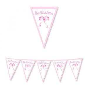 Festone Bandierine in cartoncino 300 x 30 cm Battesimo Rosa