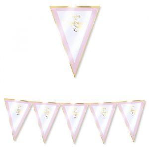 Festone Bandierine in cartoncino 300 x 30 cm Buon Compleanno Chic Rosa