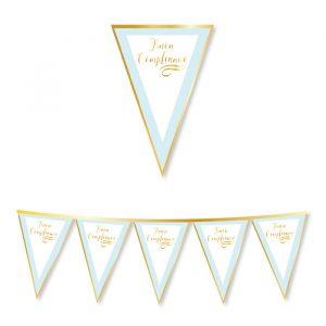 Festone Bandierine in cartoncino 300 x 30 cm Buon Compleanno Chic Celeste