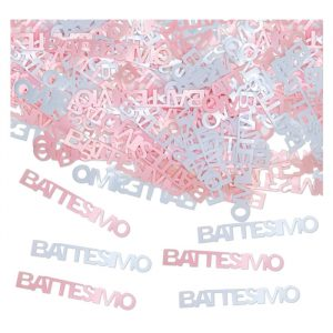 Coriandoli in plastica 15 gr Battesimo Rosa