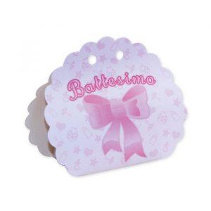 25 Scatoline portaconfetti Ventaglio smerlettato in carta 10 x 9 x 4 cm Battesimo Baby Rosa