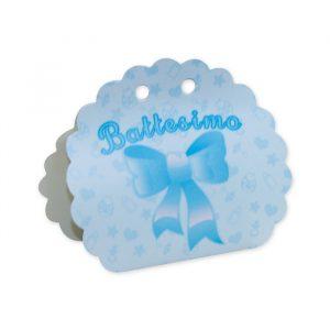 25 Scatoline portaconfetti Ventaglio smerlettato in carta 10 x 9 x 4 cm Battesimo Baby Celeste