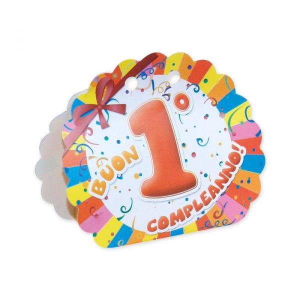 25 Scatoline portaconfetti Ventaglio smerlettato in carta 10 x 9 x 4 cm Buon Primo Compleanno