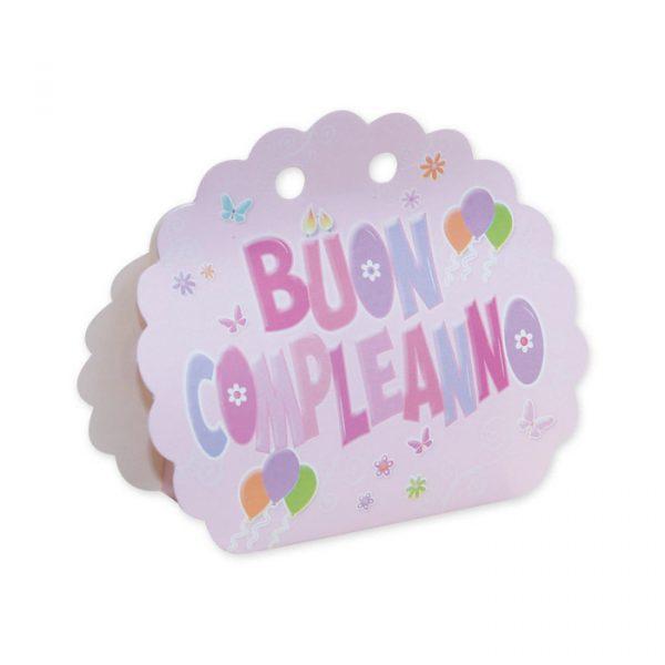25 Scatoline portaconfetti Ventaglio smerlettato in carta 10 x 9 x 4 cm Buon Compleanno Rosa