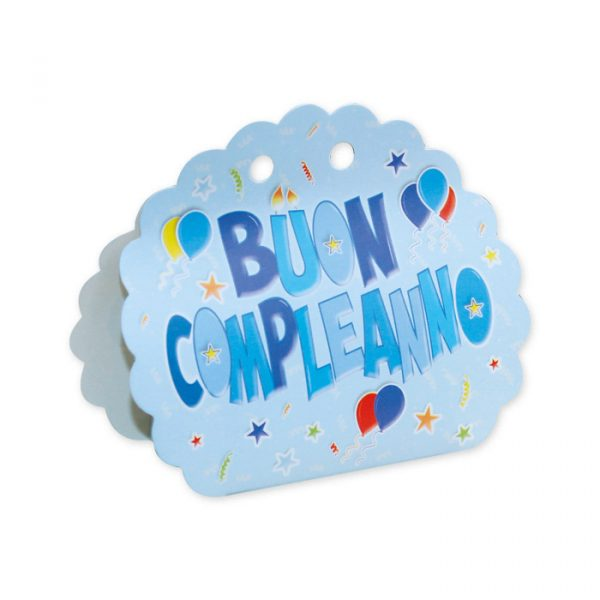 25 Scatoline portaconfetti Ventaglio smerlettato in carta 10 x 9 x 4 cm Buon Compleanno Celeste