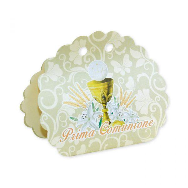 25 Scatoline portaconfetti Ventaglio smerlettato in carta 10 x 9 x 4 cm Comunione Ivory