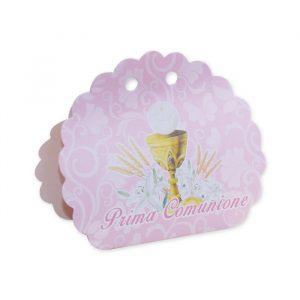 25 Scatoline portaconfetti Ventaglio smerlettato in carta 10 x 9 x 4 cm Comunione Classic Rosa