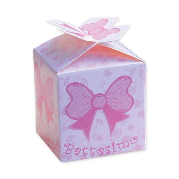 25 Scatoline portaconfetti Cubetto con Fiocco in carta 5 x 7 x 5 cm Battesimo Rosa