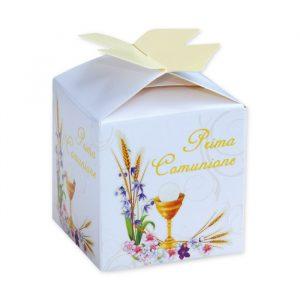 25 Scatoline portaconfetti Cubetto con Fiocco in carta 5 x 7 x 5 cm Communion Prestige