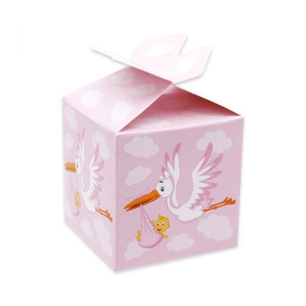 25 Scatoline portaconfetti Cubetto con Fiocco in carta 5 x 7 x 5 cm Cicogna Rosa