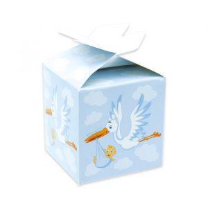 25 Scatoline portaconfetti Cubetto con Fiocco in carta 5 x 7 x 5 cm Cicogna Celeste