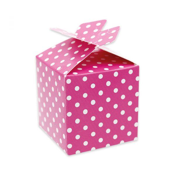 25 Scatoline portaconfetti Cubetto con Fiocco in carta 5 x 7 x 5 cm Pois Fuxia