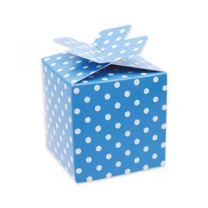 25 Scatoline portaconfetti Cubetto con Fiocco in carta 5 x 7 x 5 cm Pois Turchese