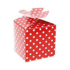 25 Scatoline portaconfetti Cubetto con Fiocco in carta 5 x 7 x 5 cm Pois Rosso