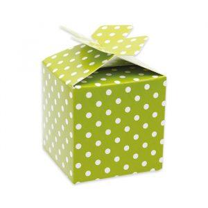 25 Scatoline portaconfetti Cubetto con Fiocco in carta 5 x 7 x 5 cm Pois Verde Mela