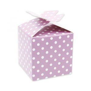 25 Scatoline portaconfetti Cubetto con Fiocco in carta 5 x 7 x 5 cm Pois Glicine