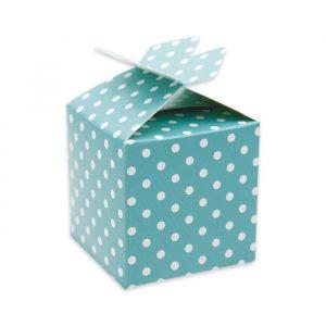 25 Scatoline portaconfetti Cubetto con Fiocco in carta 5 x 7 x 5 cm Pois Acqua Marina