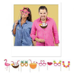 8 Maxi Photo Booth 20 cm Flamingo Party