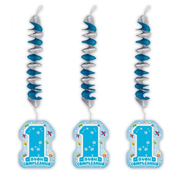 3 Addobbi Spirale Metallizzato con pendente in carta 20 x 80 cm One Light Blue