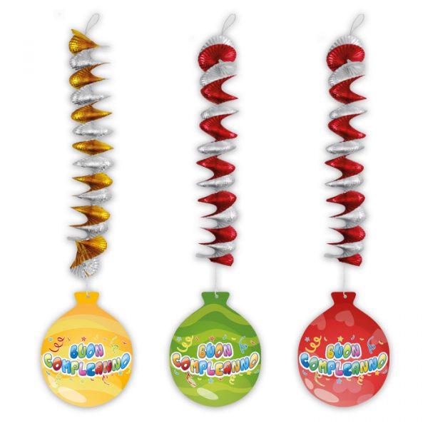 3 Addobbi Spirale Metallizzato con pendente in carta 20 x 80 cm Buon Compleanno Balloon