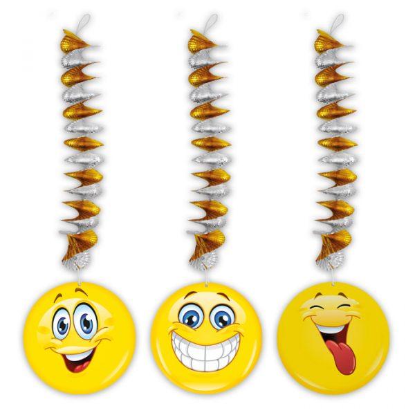3 Addobbi Spirale Metallizzato con pendente in carta 20 x 80 cm Emoticons